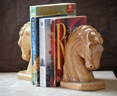 Horse Head Bookends/Vintage Ceramic Horse Bookends/Equestrian Bookends/Brown Equestrian Decor/Horse Home Decor/1975 by ginasvintageshop on Etsy https://www.etsy.com/listing/476289372/horse-head-bookendsvintage-ceramic-horse