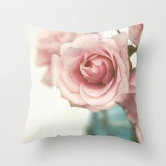 Pink Rose Pillow Cover, Pink and Blue, Shabby Chic Pillow Case, Pink Rose Home Decor, Toss Pillow Cover