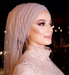 Hijab Prom Dress, Muslim Wedding Dresses, African Wedding Dress, Muslim Brides, Hijab Makeup, Bride Makeup, Wedding Hair And Makeup, Hair Makeup, Hijabi Wedding