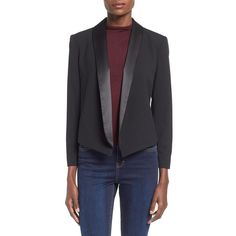 Mural Open Front Tuxedo Blazer (300 ILS) ❤ liked on Polyvore featuring outerwear, jackets, blazers, black, black cropped jacket, black blazer, black tuxedo jacket, black jacket and cropped tuxedo blazer