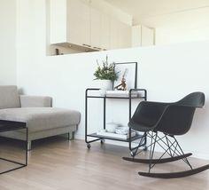 my-friend-louis | COSY CORNER eames chair eames rocking chair white Living Scandinavian Living minimalistic interiør interior design bartable beige sofa Danish home