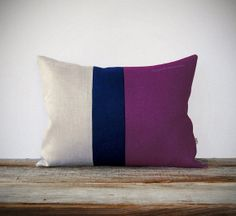 Purple Linen Colorblock Pillow with Navy by JillianReneDecor