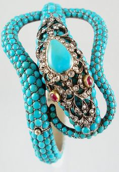Victorian turquoise serpent bangle.