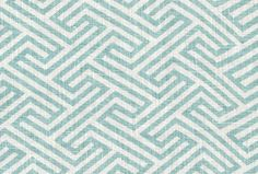"Geo Maze, Sky A classic-modern, geometric key or maze print in soft sky blue and creamy white. Made of 100% linen. Pattern repeat is 3"" x 3"". Perfect for drapery, roman shades, pillows, cushions and upholstery. Weighs 10 ounces or 300 grams per linear yard. Manufacturer recommends dry cleaning only."