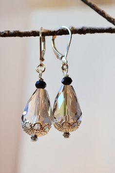 Sterling Silver Crystal Earrings Faceted Crystal by ESBeadworks
