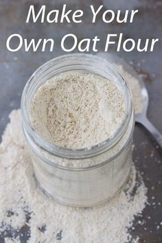Stop buying oat flour and make it yourself with this easy tutorial. Includes some helpful tips about using oat flour. Real Food Recipes, Cooking Recipes, Healthy Recipes, Healthy Meals, Chicken Recipes, Make Your Own Flour, Oat Flour Recipes, Oatmeal Recipes, How To Make Oats