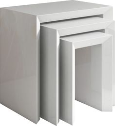 Set de 3 tables gigognes design coloris blanc laqué