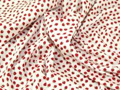 Mini Strawberry Print Cotton Poplin Fabric Red & Ivory | Fabric | Dress Fabrics | Minerva Crafts