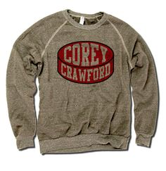 Corey Crawford Officially Licensed NHLPA Unisex Crew Sweatshirt S-2X Corey Crawford Puck R