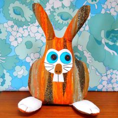 Retro Orange Bunny Rabbit in 50s 60s  Abstract by WittyDawnUK, £18.00