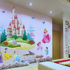 Princess Castle Wall Stickers Vinyl Decal Girls Kids Bedroom Art Large Colorful…
