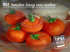 Leg overrijpe tomaten in koud water en voeg wat zout toe. De volgende dag zullen ze terug stevig en vers zijn. #tipstricks