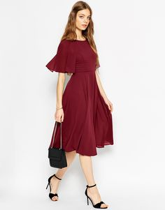Image 2 of ASOS TALL Lace Up Back Caftan Sleeve Midi Dress