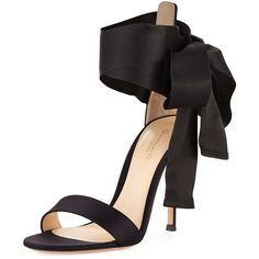 Gianvito Rossi Satin Ankle-Tie d'Orsay Sandal ($815) ❤ liked on Polyvore featuring shoes, sandals, black, shoes sandals, self tying shoes, strappy sandals, d orsay sandals, black satin sandals and black sandals