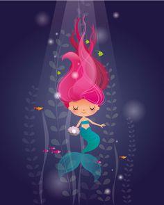 Sirena infantil original arte de chicas sirena arte
