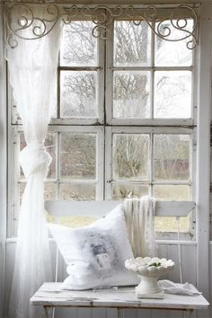 Shabby Chic... love the scroll work as a valance!