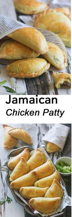 Jamaican Chicken Patties - Forget about the store-bought patties- this tastes BETTER.AND comes together quickly with a SUPER EASY dough .Make it, grab a few fresh off the oven, relax and let the taste guide you to the Islands- Jamaican Island to be Jamaican Cuisine, Jamaican Dishes, Jamaican Recipes, Curry Recipes, Jamaican Beef Patties, Jamaican Patty, Carribean Food, Caribbean Recipes, Jamaican Chicken
