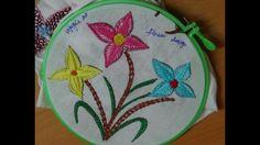 Hand Embroidery Designs # 169 - Raised herringbone flower designs