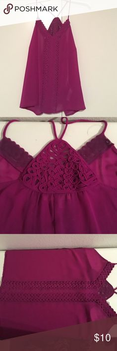 Embroidered Y Strap Cami Sheer purple strappy top. Flowy. Braid/embroider design down the middle and back.  Gently used. Cleaned gently and appropriately Forever 21 Tops Camisoles