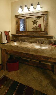 Rustic Bath- love the mirror