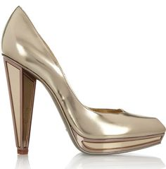 Yves Saint Laurent mirrored heel metallic leather pumps