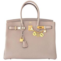 6b9bf6a897 Hermes Gris Tourterelle Dove Grey Togo Birkin 35cm with Gold Hardware. Gris  Tourtelle has been