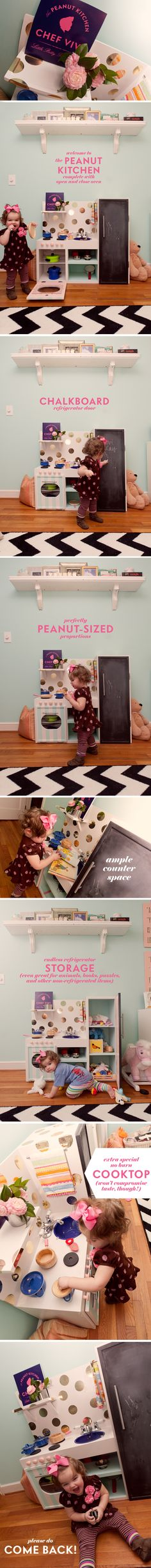 seriously cute play kitchen. I especially love the gold polka dots made from metallic contact paper.