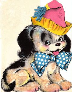 Birthday Pooch Vintage Greetings Card Digital by poshtottydesignz, $2.50