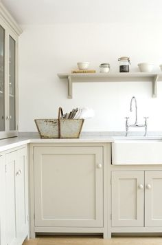 12 Farrow and Ball Kitchen Cabinet Colors For The Perfect English Kitchen White Kitchen Cabinets Ball Cabinet Colors English Farrow Kitchen Perfect Devol Shaker Kitchen, Devol Kitchens, Farmhouse Kitchen Cabinets, Shaker Cabinets, Kitchen Cabinet Colors, Home Kitchens, Farmhouse Sinks, White Cabinets, Kitchen Colors