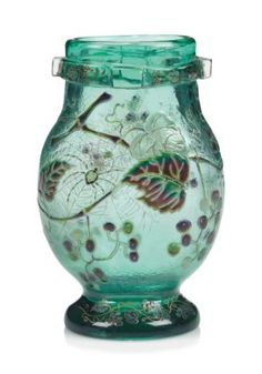 AN EMILE GALLE (1846-1904) ENAMELLED GLASS 'SPIDER' VASE