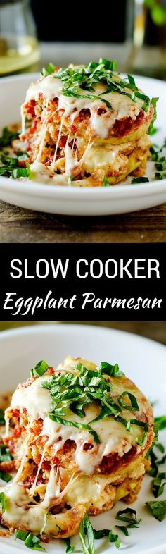 This Slow Cooker Eggplant Parmesan recipes is so delish!  You won't believe how easy it is to make this gluten free recipe in your crock pot! It is perfect for easy entertaining! via @wendypolisi