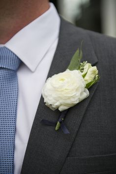 White ranunculus boutonniere // see more from this wedding: http://theeld.com/1HRixVd