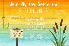 Lake Party Invitation  bbq swimming fishing   Printable