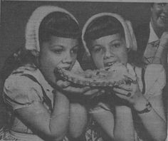 Twins Karen and Sharon Smith, age eating cherry pie. Sharon Smith, Twins, Cherry, Pie, Torte, Fruit Tarts, Pies, Tart, Twin