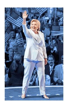 Since Hillary Clinton stepped out onto the stage to accept the Democratic Party's nomination for president in Philadelphia on Thursday night, fashion watchers have been wondering who designed her historic white pantsuit.  At last, it's been confirmed that it was Ralph Lauren.  Clinton took on rival Donald