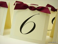 Add ribbon or other 3D objects - Wedding Table Number Layered Tent Design with Elegant - DIY Place ...