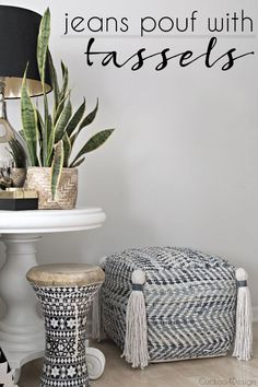 Jeans pouf with DIY tassels