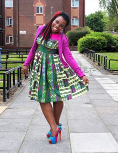 d00cb177011 trendy ankara dress with a hot pink blazer and colour blocked heels