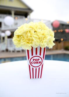 photography conference in Outer Banks Popcorn flower centerpiece, photo by I Heart Nap TimePopcorn flower centerpiece, photo by I Heart Nap Time Carnival Themed Party, Carnival Wedding, Carnival Birthday Parties, Circus Birthday, Vintage Carnival, Carnival Party Centerpieces, Carnival Decorations, Carnival Ideas, Adult Circus Party