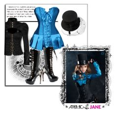 """""""ATOMIC JANE"""" by atomic-jane ❤ liked on Polyvore featuring Monsoon, whimsical, satin, steampunk, bluecorset and atomicjanesteam"""