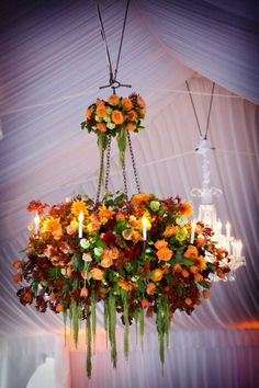 Flower-hanging-chandelier-romantic-tent-wedding - darin fong photography via karentran