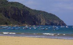 Fishing boats in the harbor, Puerto Lopez, Ecuador