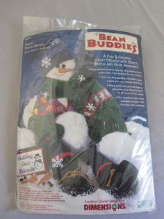 """Snowy Friend Maker Holiday Bean Buddies Dimensions 20"""" Sewing Felt Kit USA OPEN #Dimensions"""