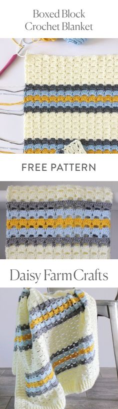 FREE PATTERN Boxed Block Crochet Blanket by Daisy Farm Crafts