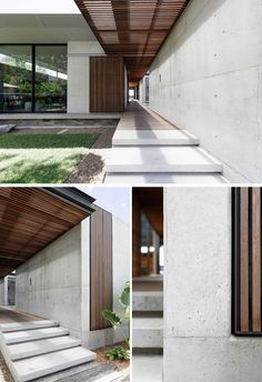 -An Australian Beach House With A Sand-Filled Interior Courtyard Concrete stairs alongside a concrete wall, lead to the sliding wood slat front door, that complements the breezeway that runs throughout this modern house. Courtyard House, Facade House, Courtyard Ideas, Patio Interior, Interior Design, Modern Interior Doors, Interior Paint, Interior Ideas, Australian Beach