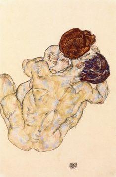 Egon Schiele - Mann Und Frau-Umarmung (Husband and wife) Watercolor Art, Art Painting, Egon Schiele, Artist Inspiration, Figure Painting, Drawings, Painting, Organic Art, Art