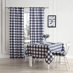 Give your home a chic farmhouse look with these buffalo check window curtains, tablecloth or seat cushions from Aubrie Home Accents. Featuring a black and white gingham print, these accessories will spruce up your bedroom, living room or dining room. Kitchen Chair Pads, Farmhouse Kitchen Inspiration, Buffalo Check Tablecloth, Kitchen Tablecloths, Dining Room Chairs, Dining Table, Window Curtains, Home Accents, Seat Cushions
