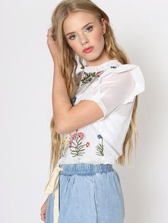 Dahlia Alice White Netted Top with Flower Embroidery and Frill Shoulder Fashion Looks, Women's Fashion, Fashion Tips, Fashion Trends, Alice White, Smart Outfit, Flower Embroidery, Uk Shop, Dahlia