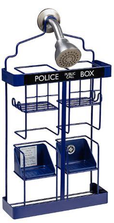 Doctor Who TARDIS :  Shower Rack Caddy @ Think Geek for their bathroom