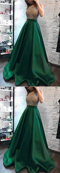 Green Satin Long Ball Gowns Prom Dresses Beaded Halter Neckline Evening Dress For Formal Occasions